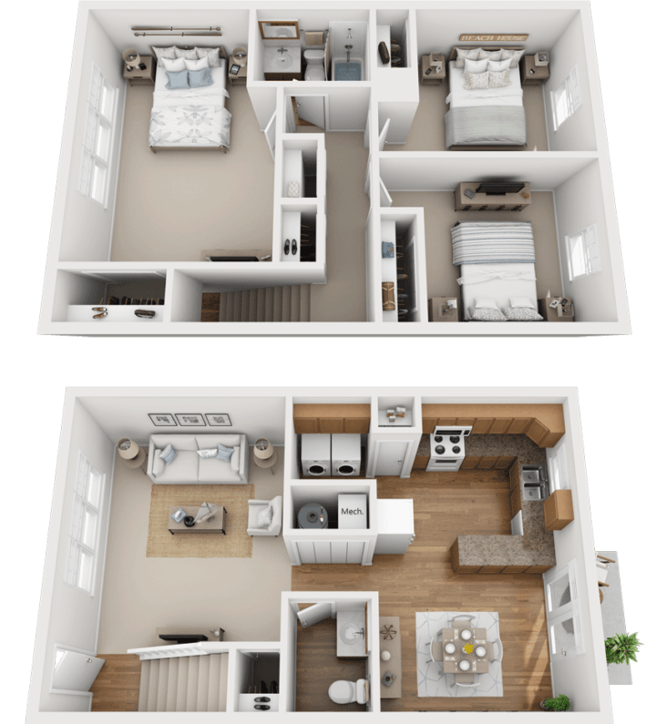 The Pine Floor Plan, Kimber Green, Evansville, Indiana